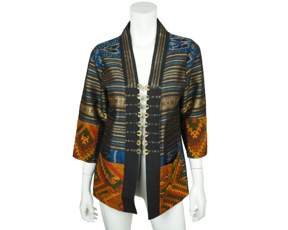 Vintage Thai Silk Jacket with Embroidery & Coin Bu