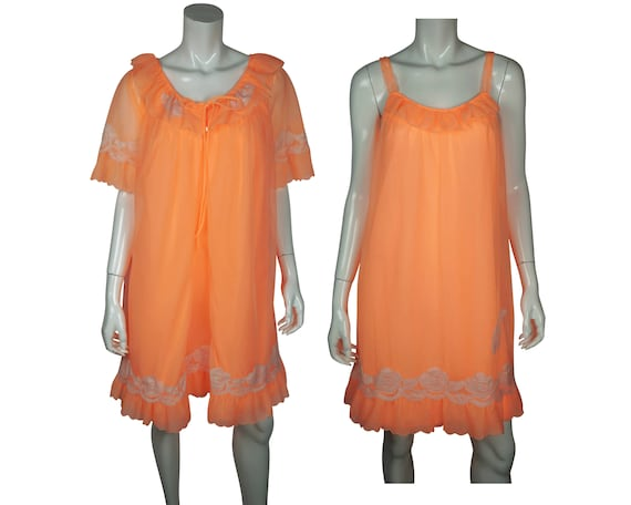 Vintage Nightie Peignoir Set Bright Orange Sheer N