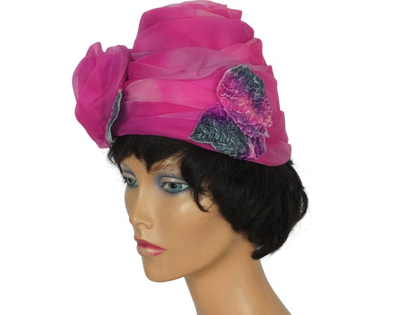 1950s Pink Rose Turban Hat - image 3