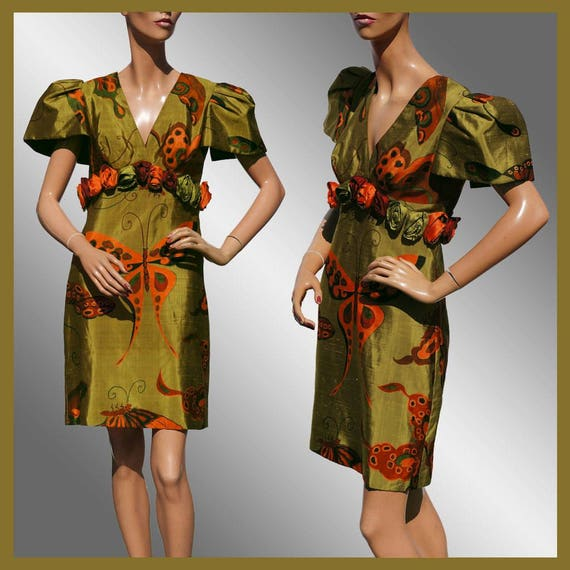 Vintage 1980s Butterfly Print Silk Dress - S