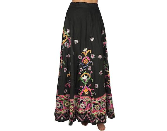 Vintage 1960s Indian Cotton Wraparound Skirt Mirro
