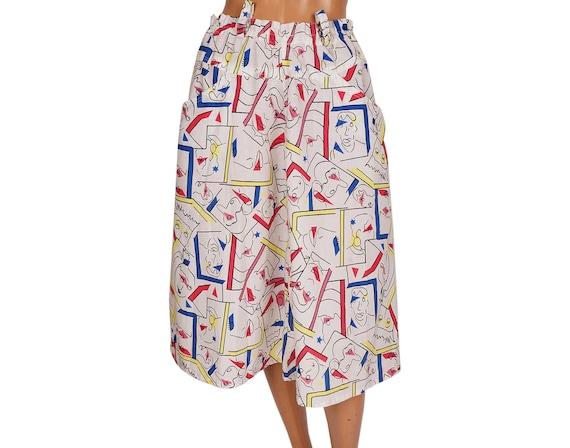Vintage 1980s Novelty Print Cotton Skirt - Faces … - image 1