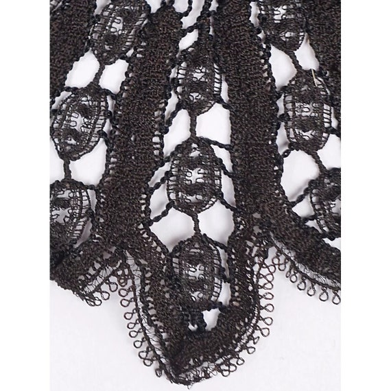 Victorian Black Lace Collar - Antique Hand Made L… - image 5
