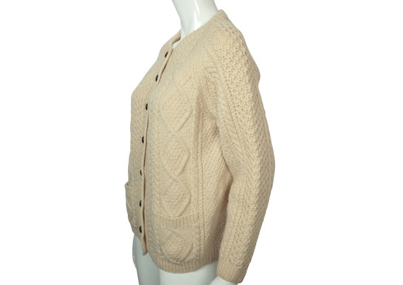 Vintage Irish Sweater Aran Hand Knit Cardigan Cro… - image 2