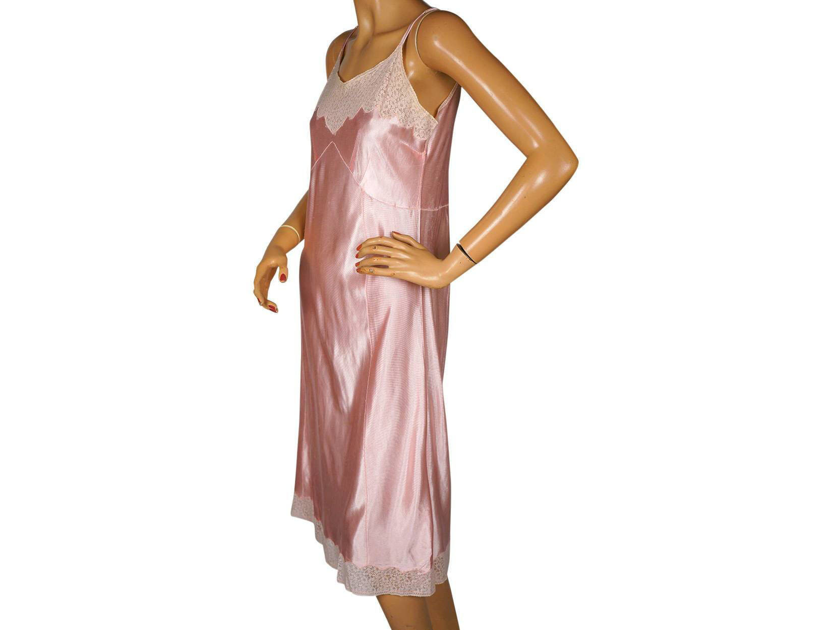 3e29459a3890a Vintage 1930s Slip Pink Rayon Jersey and Lace Size S | Etsy
