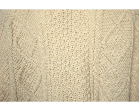 Vintage Irish Sweater Aran Hand Knit Cardigan Cro… - image 4