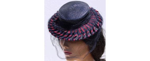 Vintage 1930s Straw Hat - Blue and Red - Tilt Hat