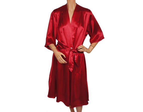 Vintage 1940s Magenta Red Satin Dressing Gown Lounging Robe   Etsy