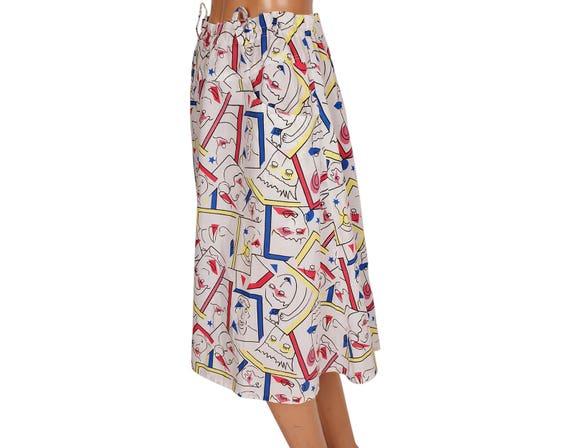 Vintage 1980s Novelty Print Cotton Skirt - Faces … - image 2