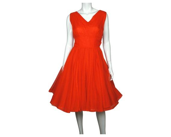 Chiffon Evening Party Wedding Red Chiffon Dress Cocktail Dress 1950s Dress Vintage Dress 1950s  Algo Original Prom