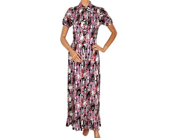 1970s Maxi Dress - Graphic Print -  Smocked Top -