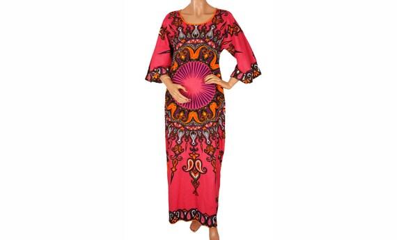 1970s Dashiki Dress - Pink Mandala - Angel Sleeves