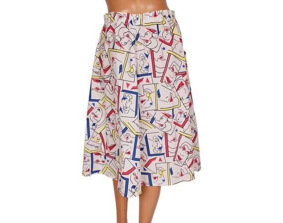 Vintage 1980s Novelty Print Cotton Skirt - Faces … - image 3