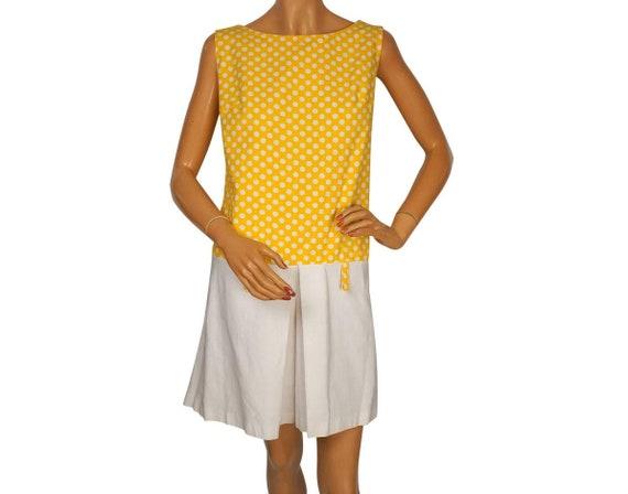1960s MOD Dress - White and Yellow Polka Dot - Sko