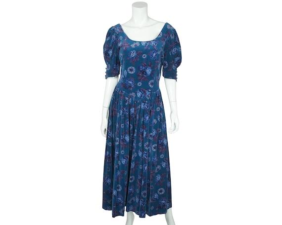 Vintage 1980s Laura Ashley Dress Floral Blue Velve