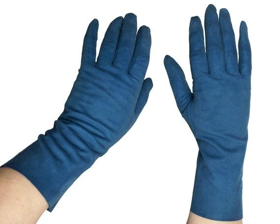 Vintage 50s Christian Dior Gloves Blue Antelope Su