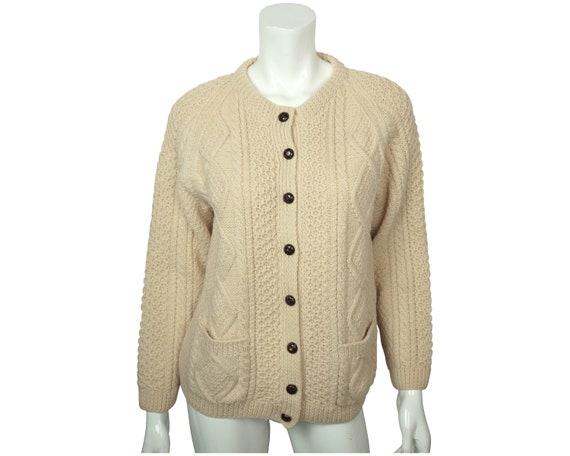 Vintage Irish Sweater Aran Hand Knit Cardigan Cro… - image 1