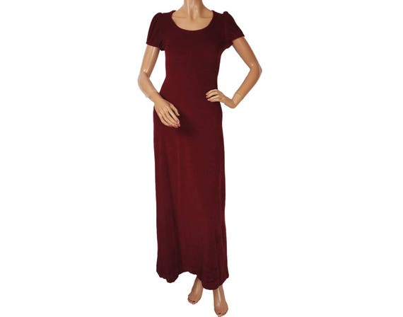 Vintage 1970s Maxi Dress Burgundy Velour Velvet -