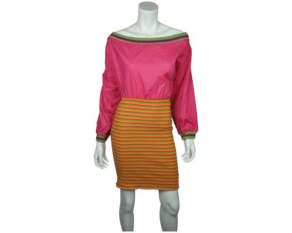 Vintage 1990s Naf Naf Paris Dress Colourful Cotton