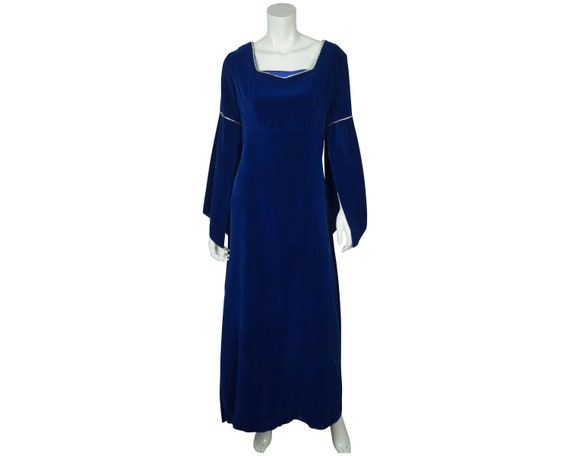 Vintage 70s Blue Velvet Bridesmaid Dress Split Bel