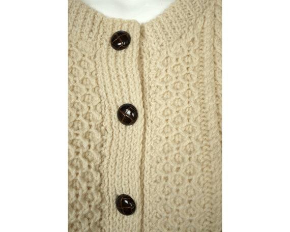 Vintage Irish Sweater Aran Hand Knit Cardigan Cro… - image 5