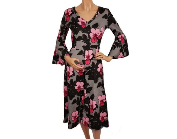 Vintage 1970s Mod Floral Print Culotte Dress -  Al