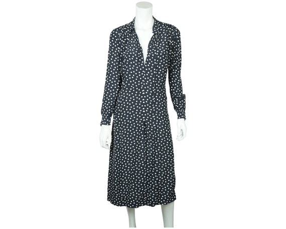 Vintage 1930s Day Dress Navy Blue with White Polka