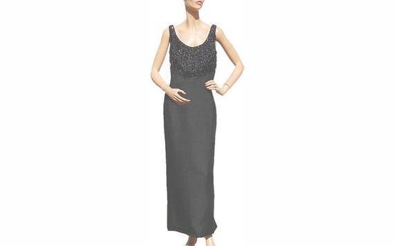 1960s Black Silk Sheath Evening Dress with Beaded