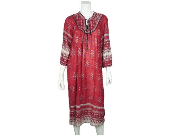 Vintage 1970s Indian Cotton Gauze Dress Red Block