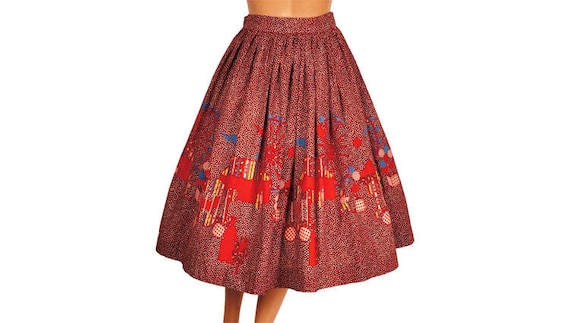 Vintage 1950s Novelty Border Print Circle Skirt -