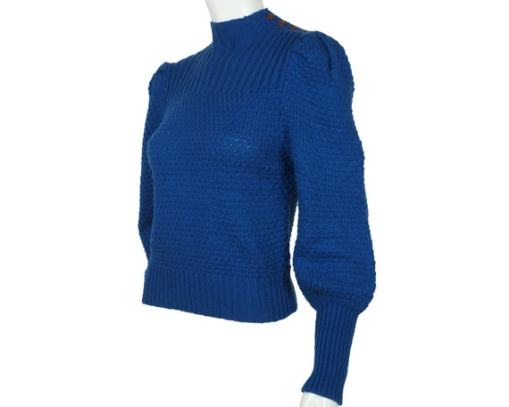 Vintage Hand Knit Ladies Pullover Sweater Blue Wo… - image 2
