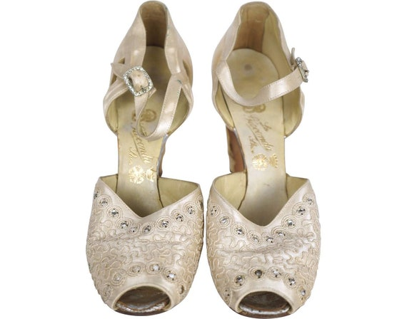 1930s White Silk Shoes Rhinestone Studded - Size 5