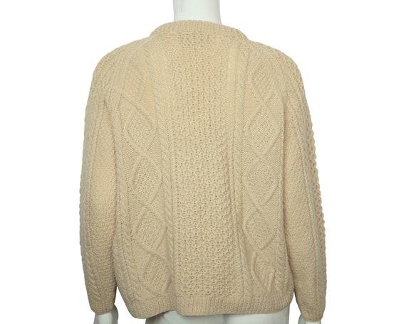Vintage Irish Sweater Aran Hand Knit Cardigan Cro… - image 3