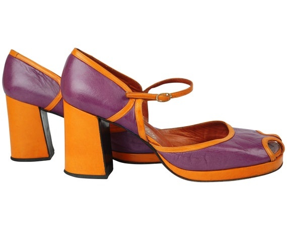 Vintage Chunky Shoes Purple & Orange 70s Platform