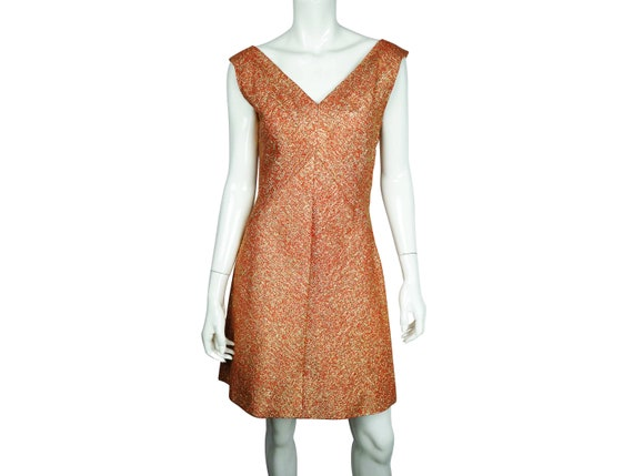 1960s Gold LAME cocktail dress HOMESEWN VINTAGE Glamour! size Small