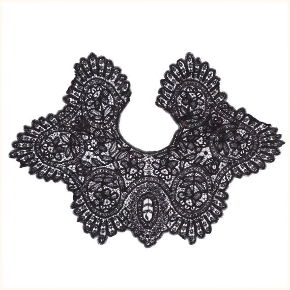 Victorian Black Lace Collar - Antique Hand Made L… - image 6