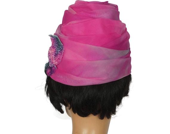 1950s Pink Rose Turban Hat - image 4