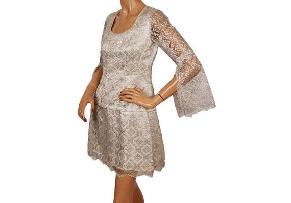 Vintage 1960s Silver Lace Mini Dress  with Angel S