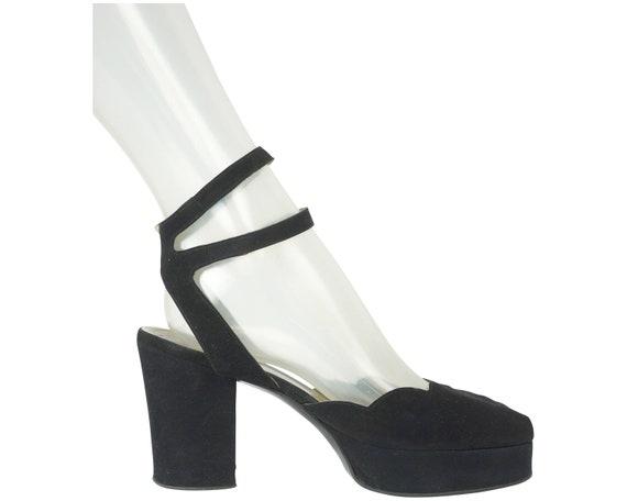 Vintage 70s Platform Shoes Black Suede T Elliott U