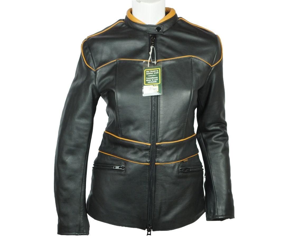Vintage Nwt Brimaco Cafe Racer Leather Motorcycle Jacket M