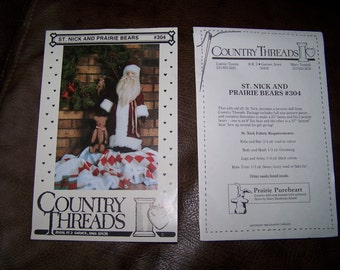 Pattern: ST. NICK and PRAIRIE Bears #304. Country Threads.