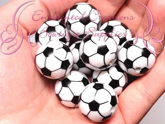 20mm Black And White Soccer Ball Print Theme Bubblegum Bead Gumball Beads Printed Beads Chunky Beads Large Jewelry Beads