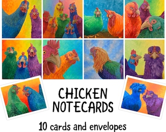 """Pack of 10 Chicken and Rooster Notecards 4.25x5.5"""""""