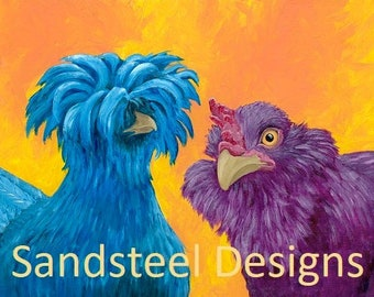 Vibrant Chickens - Giclee Print on Textured Fine Art Paper
