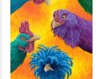 """Colorful Chickens - Giclee Print on Textured Fine Art Paper - 15x30"""""""