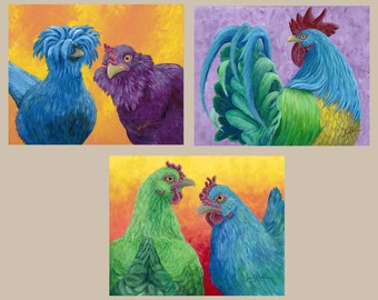 3 Print Package Deal - Bright Chicken and Rooster Giclee Prints on Textured Fine Art Paper