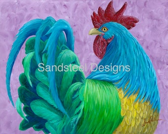 Rainbow Rooster - Giclee Print on Textured Fine Art Paper