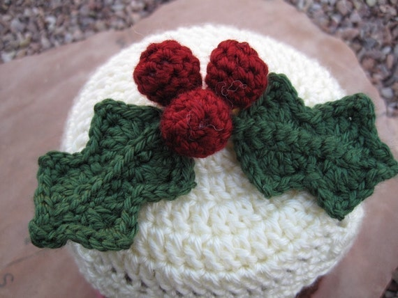 Pattern Crocheted Christmas Plum Pudding Hat With Holly Etsy