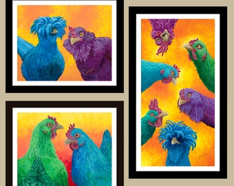 3 Print Package Deal - Bright Chicken Giclee Prints on Textured Fine Art Paper