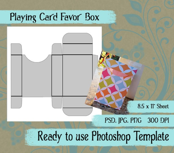 Photoshop Template Playing Card Favor Box In JPG PNG PSD